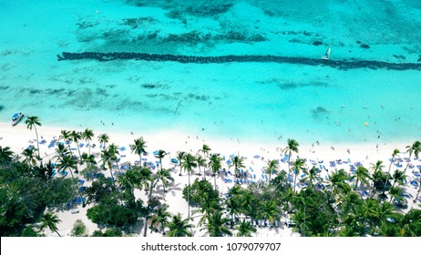 Aerial of wonderful tropical beach resort in La Romana, Dominican Republic