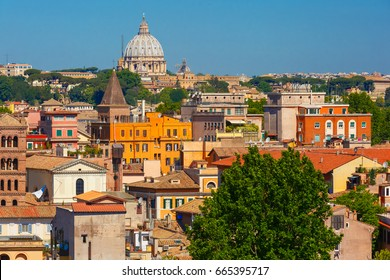 Aerial wonderful view of Rome with dome of Saint Peter Cathedral in the summer day in Rome, Italy
