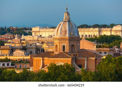 Aerial wonderful view of Rome with San Giovanni dei Fiorentini church at sunset time in Rome, Italy