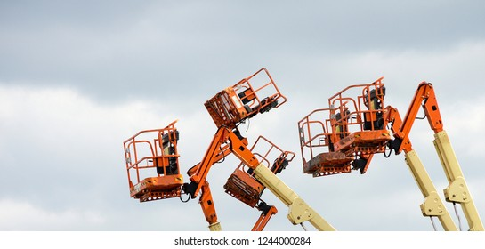 Aerial work platforms extended upwards