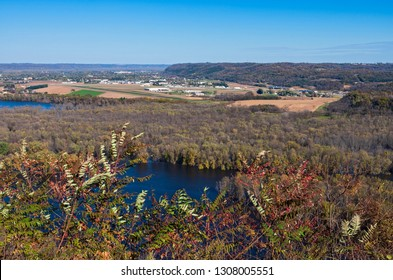 aerial from wyalusing state park bluffs of wisconsin river and prairie du chien wisconsin