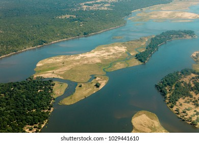 Aerial of Zambian River Islands