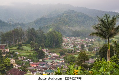 Aerial/bird eye view of a rural Indonesian village in Puncak, Ciloto, Cianjur, West Java, Indonesia.