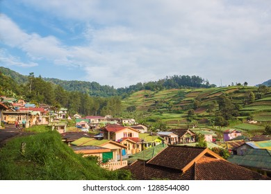 An aerial/bird eye view of a rural Indonesian village in Puncak, Ciloto, West Java, Indonesia.