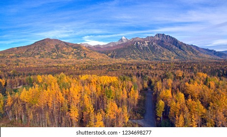 Aerial/Drone photo of fall foliage Palmer Alaska