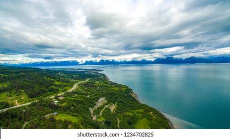 Aerial/Drone photo Homer Spit in Homer Alaska