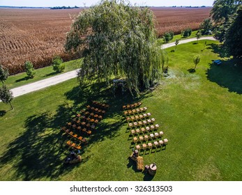 Aerial/Drone View of a Farm Wedding Venue in Illinois