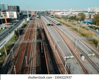 Aerialphoto train depots, rail tracks, interchanges and trains. St. Petersburg, Russia