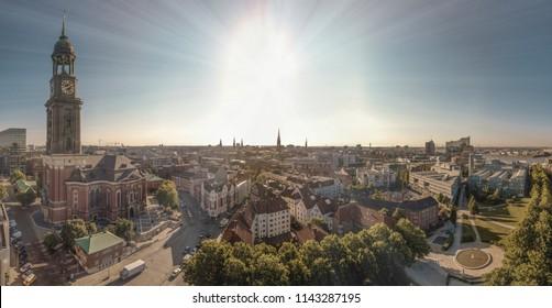 Aerialview on the St. Michaelis Church in Hamburg