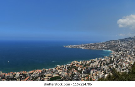 aerian view of lebanese coast  and Jounieh, Maameltein and Tabarja towns heading to mediterranean sea