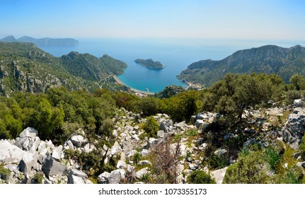 Aerieal view over Mediterranean coastline around Ciftlik village on Bozburun peninsula near Marmaris resort town in Turkey.