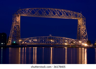 aeriel lift bridge in Duluth on Lake superior at dusk