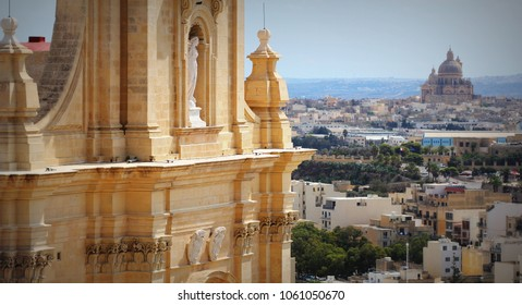 Aeriel view of city Victoria or Rabat and fragment of Gozo Cathedral , Victoria, Gozo, Malta