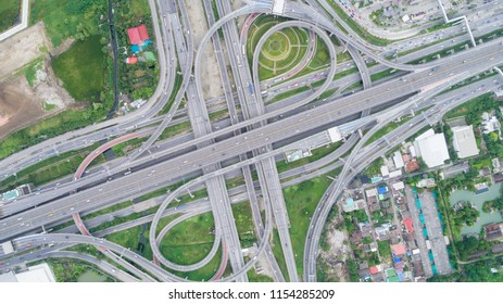Aeriel view highway road intersection for transportation or traffic background.