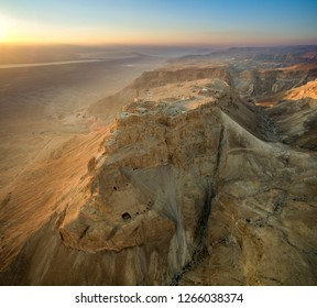 Aeriel view of Masada shortly after sunrise