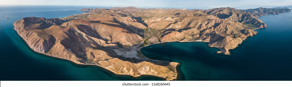 Aeriel view of Puerto Balandra located on Isla Carmen near Loreto, BCS Mexico.