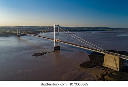 Aeriel View of Severn Bridge in Somerset. This was the orignal Severn bridge and carries the M48 to Wales