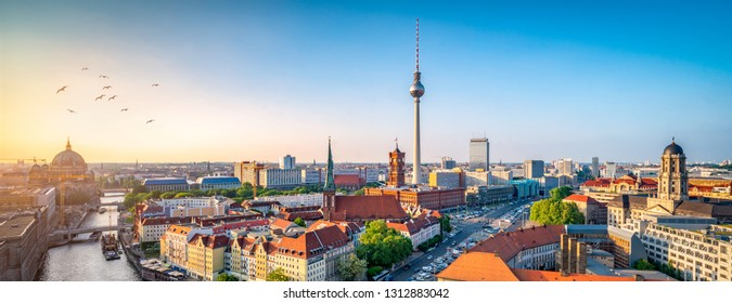 Aeriel view of the skyline with television tower, Berlin, Germany