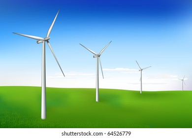 Aermotors Or Wind Turbines Generating Electricity And Beautiful Landscape