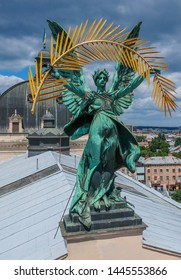 Aero photography. Romantic Lviv, from the height of the bird's eye. Lviv is the cultural capital of Ukraine. Sculptures adorn front of Lviv Opera and Ballet Theatre.