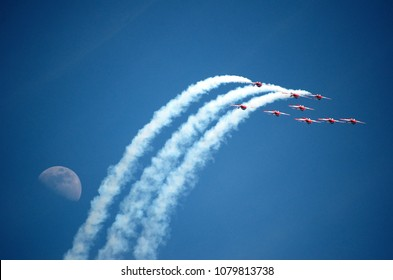 Aerobatic Flight with the moon and jet streams