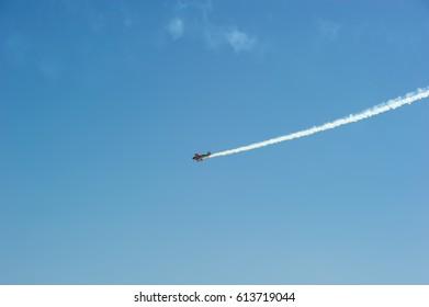 Aerobatic performs flight at air show festival in Salinas, California 2016