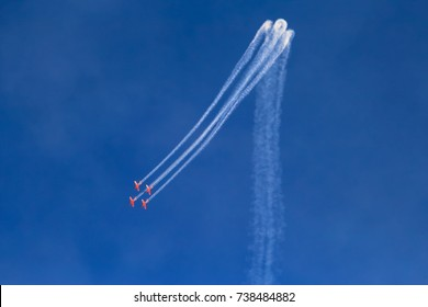 Aerobatic team leaves trails of steam against blue sky, Independence Day israel