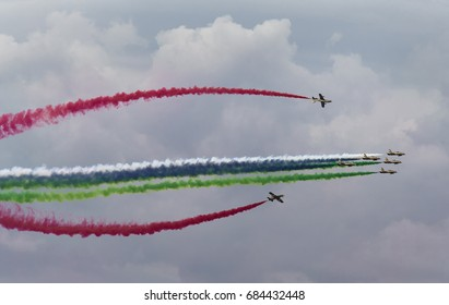 Aerobatic team making loopings in the air. Russia, Moscow Airshow in July 2017