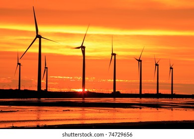 aerogenerator array silhouette at sea shore