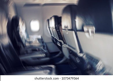 aerophobias concept. Blurred image of commercial plane moving fast downwards. Fear of flying. collapse slump depression downfall debacle, subsidence trip. turbidity of consciousness during seasickness