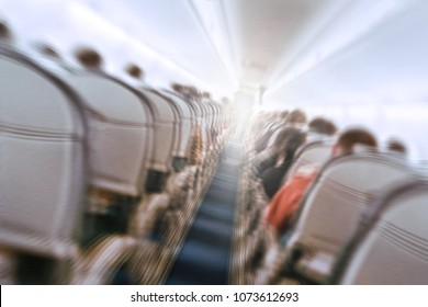 aerophobias concept. plane shakes during turbulence flying air hole. Blur image commercial plane moving fast downwards. Fear of flying. collapse slump, depression, downfall, debacle, subsidence. dive