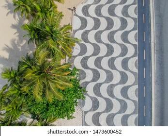 Aerophotography of Copacabana beach .Top View of Copacabana beach with mosaic of sidewalk in Rio de Janeiro. Brazil