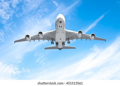 Aeroplane flying in the blue sky
