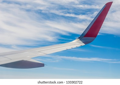Aeroplane plane aircraft wings with gas turbine engine in the cloudy blue sky