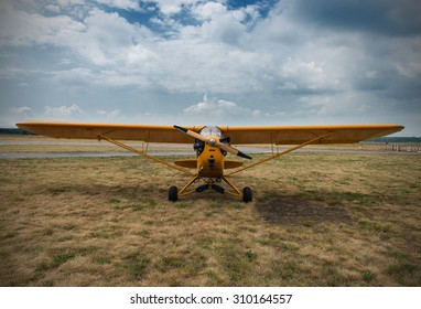 aeroplane waiting for a start, on grass