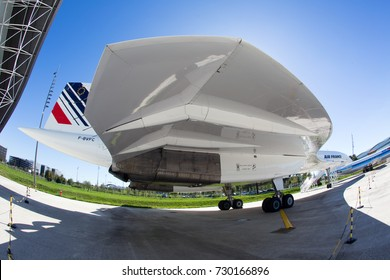 AEROSCOPIA MUSEUM, BLAGNAC, FRANCE - OCTOBER 8, 2017: Passenger supersonic jet plane Concorde. Previously operated Air France with registration number F-BVFC. Aircraft wing close-up.