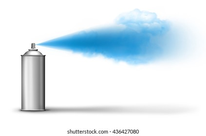Aerosol can spraying blue paint cloud on white backround