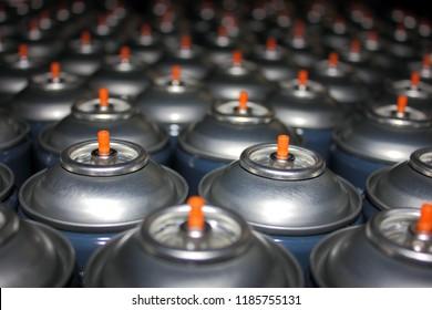 Aerosol cans awaiting production