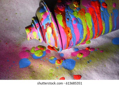 Aerosol paint in colorful stains, textured stains of paint. Grunge background.