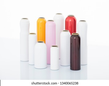 aerosol tubes on white background
