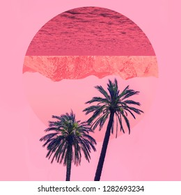 Aesthetic art collage with awesome view of nature with palm trees in the inversion colours and circle frame with mirror reflection of mountains. Minimalism