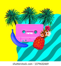 Aesthetic art collage. Beach Retro palm cassette.  Zine culture trend