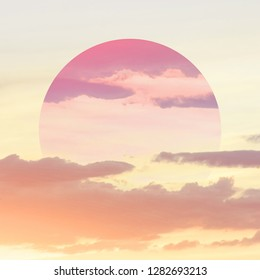 Aesthetic art collage with beautiful sky sunset and mirror reflection in circle frame.