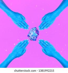 Aesthetic art collage. Hands and magic crystal. Zine culture minimal concept