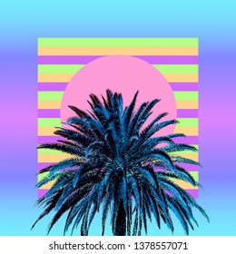 Aesthetic art collage. Palm. Beach mood. Zine culture trend