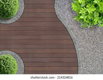 aesthetic garden design detail seen from above