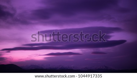 Aesthetic Purple Sunset Cloud Coverage Stock Photo Edit Now
