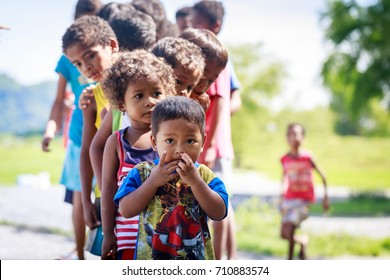 The Aeta tribe children near Mount Pinatubo on Aug 27, 2017 in Santa Juliana, Capas, Central Luzon, Philippines. the people suffer of poverty due to the bad economy, political issue.