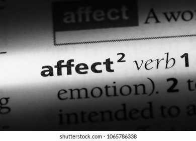 affect verb word in a dictionary. affect verb concept.