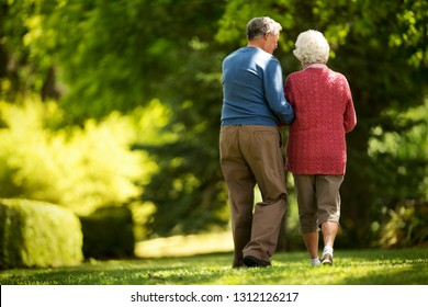 Affectionate elderly couple walk in a sunny garden together.